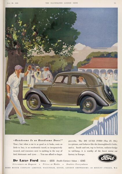 Advert for the Ford De Luxe motorcar showing the car parked at a cricket match in the hight summer