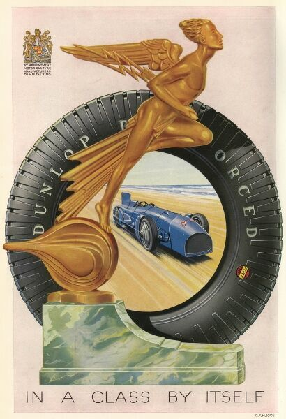 Dunlop Tyres pay tribute to Malcolm Campbell when he drives his 'Bluebird' on Daytona Beach, Florida, at a speed of 395 km/h. Date: 1931