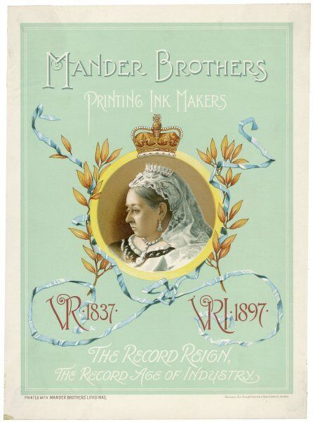 Mander Brothers Printing Ink Makers - an advertisement featuring Queen Victoria in the year of her Diamond Jubilee