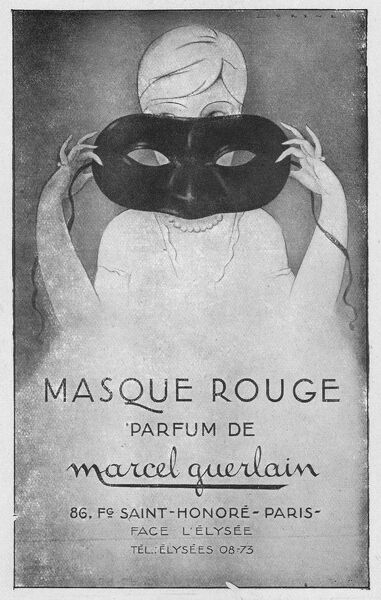 Advert for Masque Rouge - perfume by Marcel Guerlain, 1927, Paris Date: 1927
