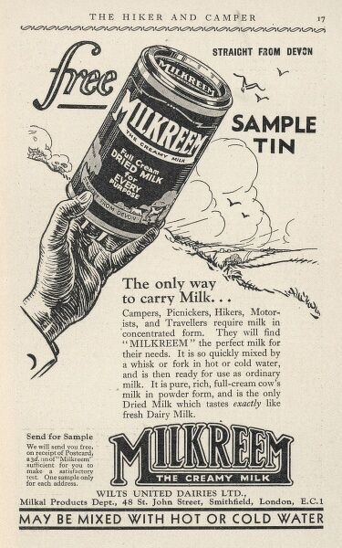 Advertisement for Milkreem - the creamy milk which can be mixed with hot or cold water
