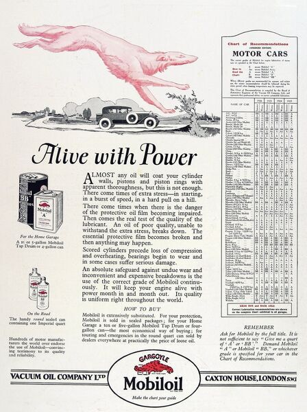 Advertisement captioned 'Alive with Power' for Mobil oil