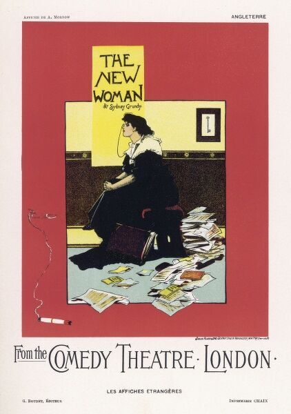 Poster for Sydney Grundy's play 'The New Woman' at the Comedy Theatre, London