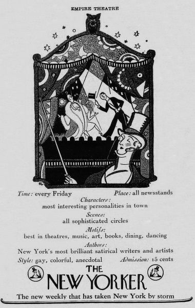 Advert for The New Yorker Magazine, 1925, New York Date: 1925
