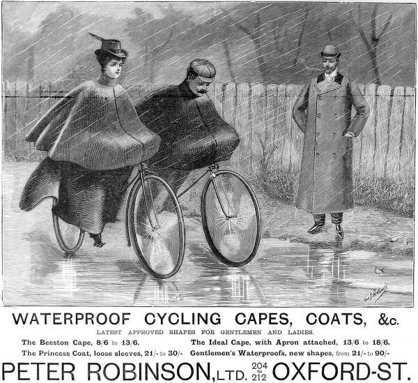 Advertisement for Waterproof Cycling Capes and Coats, as produced by Peter Robinson Ltd. of Oxford Street, London