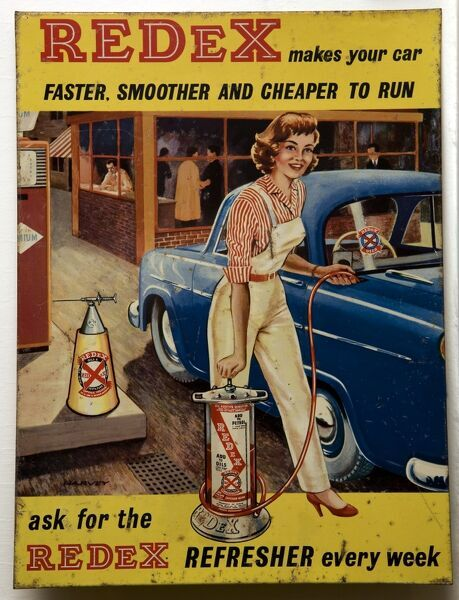 A tin/alloy sign advertising Redex engine treatment which according to this advertisement - 'makes your car faster, smoother and cheaper to run'. *EDITORIAL USE ONLY*