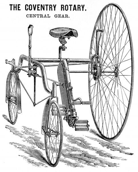 Advertisement showing the Coventry Rotary Tandem, built by D. Rudge & Co. of Coventry, 1885. An example of this machine, it was claimed, had travelled over 230 miles on roads with 2 inches of mud, in only 24 hours