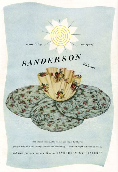 Advertisement for Sanderson Fabrics -- sun-resisting and washproof. Also mentioning the Sanderson range of wallpapers. Showing two fabric designs arranged in the shape of a large flower. Date: May 1951