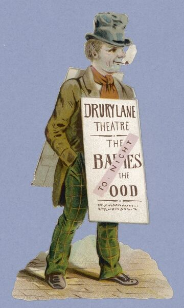 Sandwichman advertising a pantomime - Babes in the Wood at Drury Lane Theatre, London