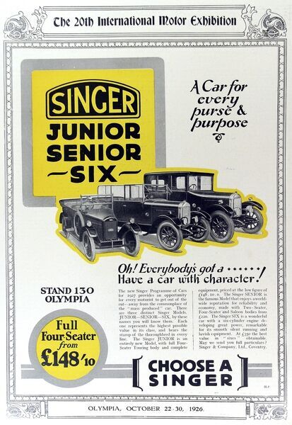 Advertisement for Singer cars from 1926, proclaiming 'everybody should have a car with character.&#39