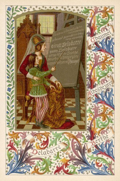 A medieval youth reads from a blackboard the virtues of Sirop Delebarre, even though it will not be invented for five hundred years or so