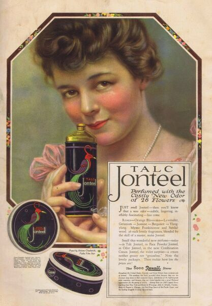 'Perfumed with the costly odor of 26 flowers.' Advert for Talc Jonteel, 1918, USA. Date: 1918