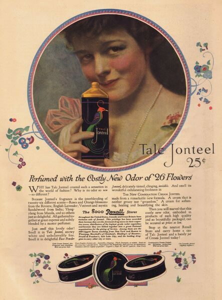 Perfumed with the costly odor of 26 flowers.' Advert for Talc Jonteel, 1918, USA. Date: 1918