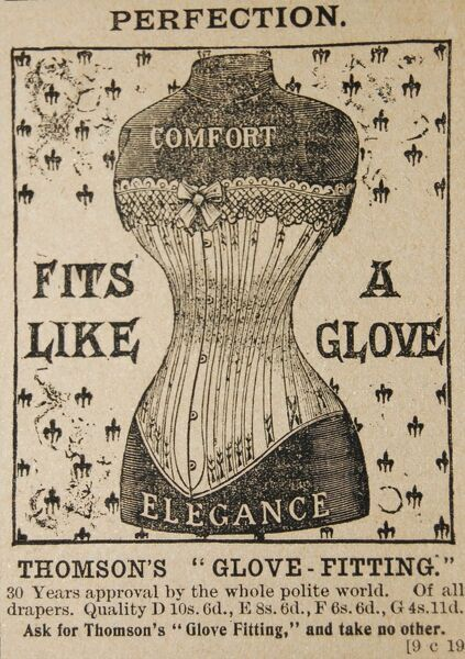 An advertisement for Thomson's glove-fitting corset, promising the wearer comfort and elegance