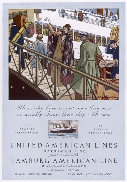 Boarding a ship of the United American Lines