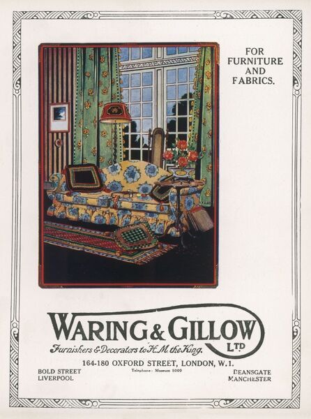 Sofa by Waring abd Gillow, one of London's prestige furnishing stores, depicted in a setting with curtains and other items
