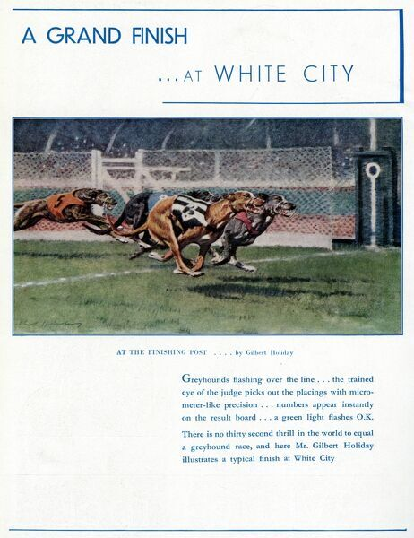 Advert for White City greyhound racing stadium depicting four greyhounds at the finishing post Date: 1937