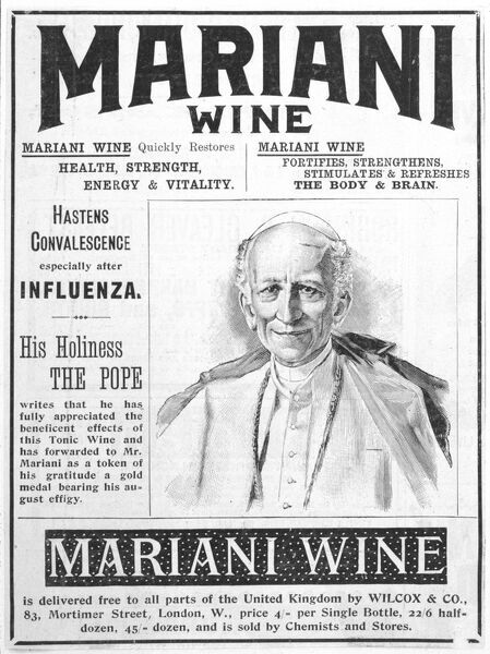 Mariani Wine, good for health, strength, energy and vitality, as recommended by His Holiness the Pope
