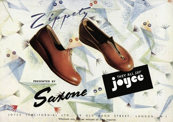 Tanned, flat heeled, zipped at the front shoe by Zippety, Joyce California, fitted by Saxone