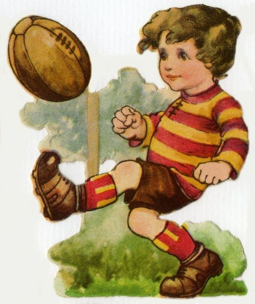 Rugby. Artist: Ada Leonora Bowley. Kicking the ball Date: circa 1920