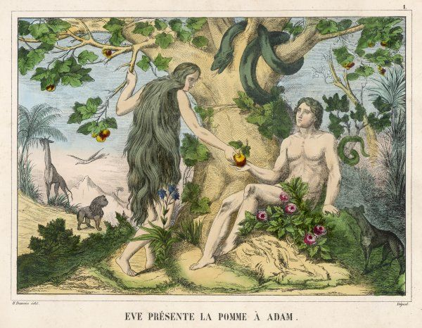 Eve offers the apple to Adam, while the Serpent looks on approvingly