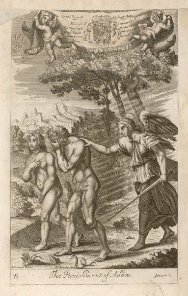 Adam and Eve, having eaten the Forbidden Fruit, are expelled from Eden and told they must henceforward work for their living by the sweat of their brows