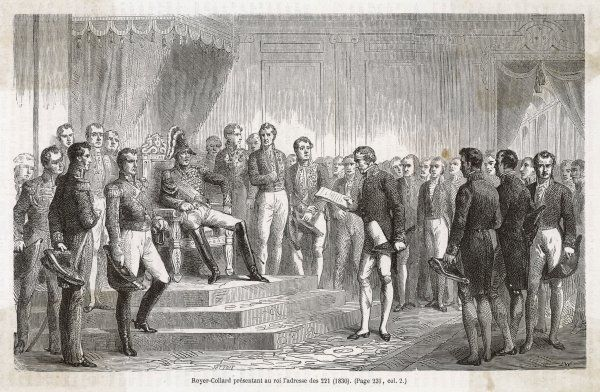 Liberal statesman Royer- Collard presents the Adresse du 221, demanding reforms, to Charles X, who of course remains obdurate