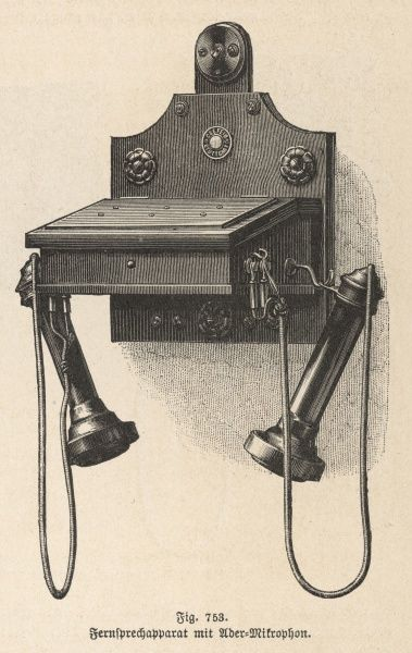 Ader wall-mounted telephone with two receivers
