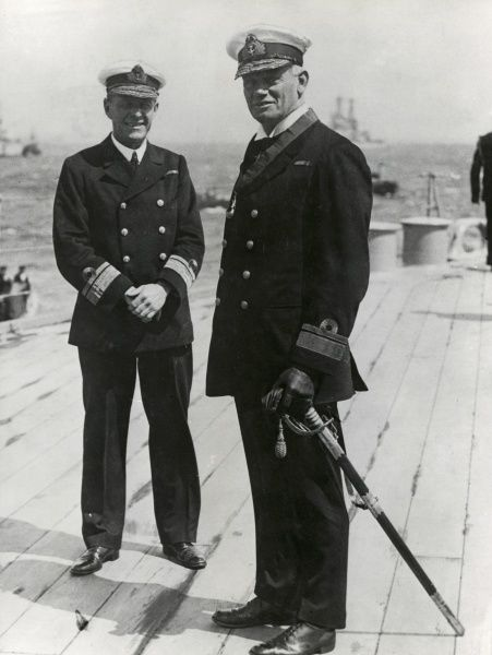Admiral William Nicholson (1863-1932) - served in World War I and, as Captain of HMS Canada, saw action at the Battle of Jutland in 1916. Pictured with Rear Admiral Sir O De Beech. Date: circa 1916