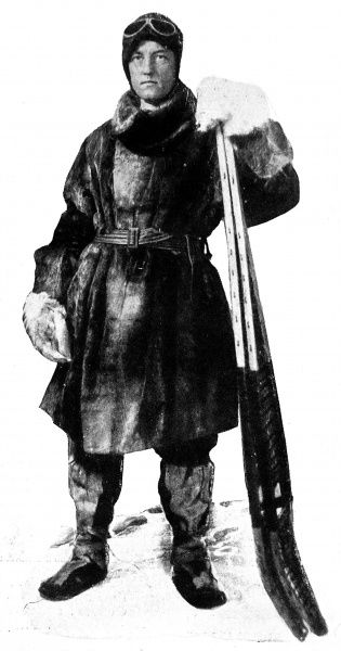 Photograph of Rear-Admiral Richard Byrd (1888-1957), the American explorer, pictured in his cold weather furs with two snow-shoes, c.1929. Admiral Byrd made a number of expeditions to the Polar regions and was the first person to fly over both the North