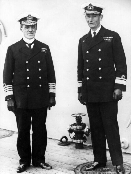 Admiral Sir Frederick Charles Doveton Sturdee, 1st Baronet (1859-1925) and Rear Admiral Sir Roger John Brownlow Keyes (1872-1945), standing side by side on the deck of a ship. From June 1917 Keyes was second in command under Sturdee of the 4th Battle Squadron