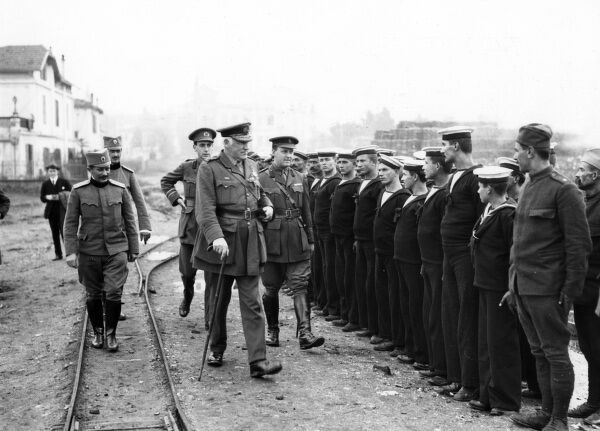 Admiral Trowbridge, ADC to Crown Prince Alexander of Serbia, inspecting Serbian sailors on their return from training on a British battleship at Salonika during the First World War. Date: circa 1915-1916