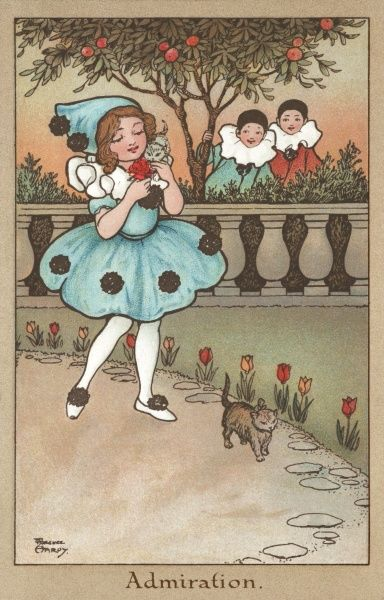Two little Pierrots admire from a distance a little girl in a charming clown style dress