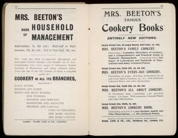 Two pages of advertisements for Mrs Beeton's Book of Household Management and other Cookery Books, still going strong in the early 20th century