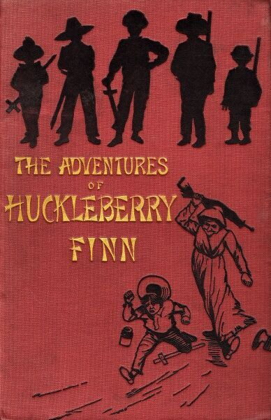 Front cover of The Adventures of Huckleberry Finn by Mark Twain featuring silhouettes