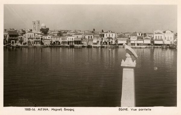 A view toward the seafront at Aegina, one of the Saronic Islands of Greece in the Saronic Gulf, a rival to the sea power of Athens in ancient times. Date: circa 1940