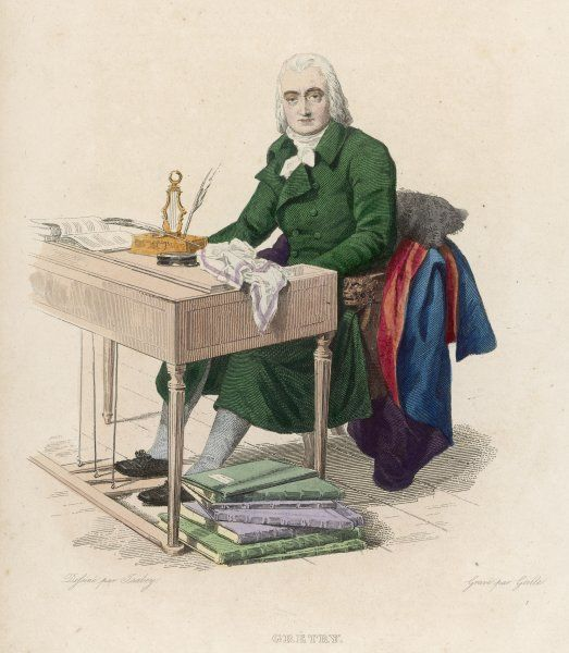 ANDRE-ERNEST-MODESTE GRETRY French composer at his desk