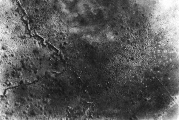Aerial photograph (British) during the Battle of the Somme, northern France, during the First World War. Seen from an aeroplane at a height of 3000 feet. Date: 1916