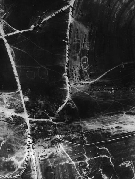 Aerial photograph (French) of the Battle of Verdun in north eastern France, during the First World War, taken from a height of 400 metres. Date: 1 June 1916