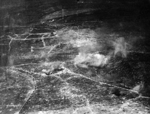 Aerial photograph (French) of a battlefield on the western front in France or Belgium, described as Les Carrieres d'Hauchemont (Orchimont?), during the First World War. Date: 22 June 1917