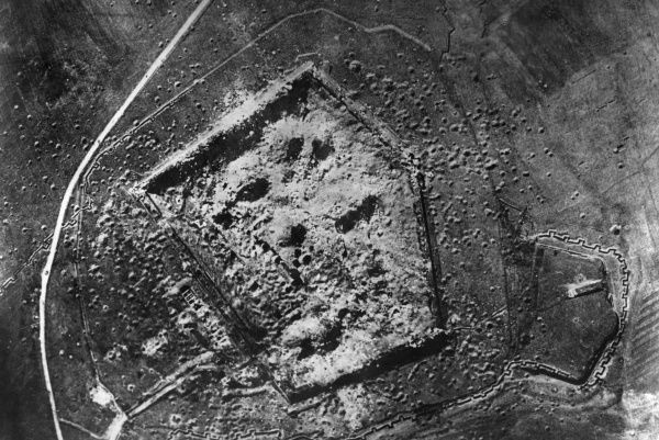 Aerial photograph (German) of the Fort at Mainvilliers, north central France, during the First World War. Pockmarking is visible from repeated bombing. Date: 1914-1918