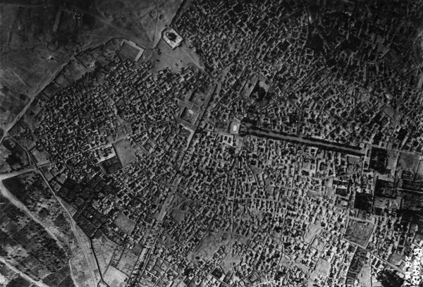 Aerial photograph (British) of a town or city during the First World War. Date: 1914-1918