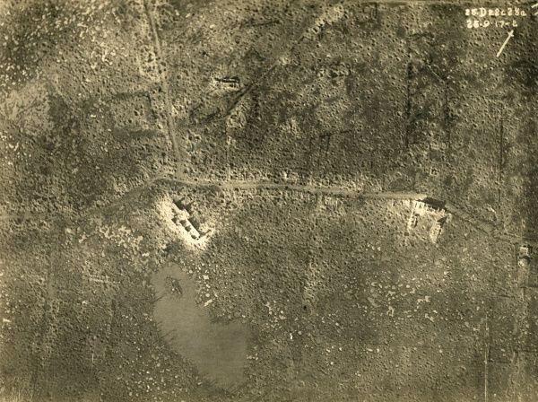 Aerial photograph (British) of the area around Zonnebeke, including Zonnebeke Lake and Church, Belgium, on the western front during the First World War. It was destroyed during the Battle of Passchendaele. Date: 25 September 1917
