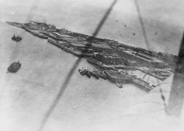 Aerial view of Cuxhaven, a German naval base, during the First World War. Photo taken from one of the British aircraft taking part in the raid. Date: 25 December 1914