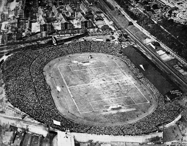 Aerial photograph of Stamford Bridge Football ground during the 1922 F.A. Cup Final between Huddersfield Town and Preston North End. 55,000 supporters packed into the ground to watch Huddersfield win 1-0