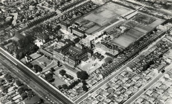 An aerial view of the Forest Gate Hospital, London E7