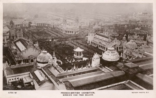 Aerial view, taken from a balloon, of the Franco-British Exhibition, held at White City, West London, from May to October 1908. Date: 1908