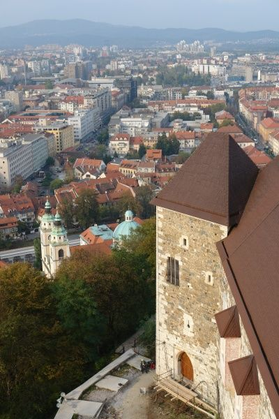 An aerial view of the older part of the city of Ljubljana, Slovenia, from the castle