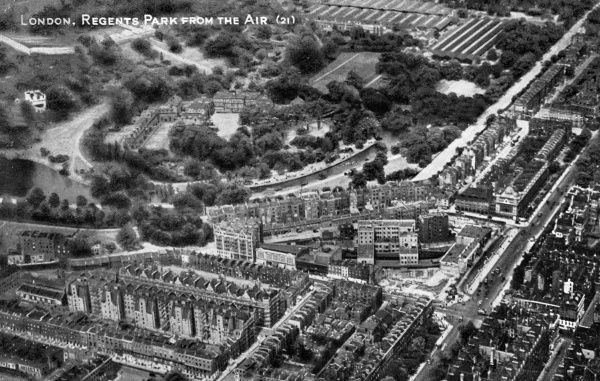 Aerial view of Regents Park, Baker Street and Madame Tussauds waxwork museum in Marylebone Road, London