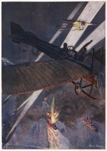 At the outbreak of war, the role of the aeroplane was uncertain : this prediction of bombing ships was premature, given the rudimentary technology then available